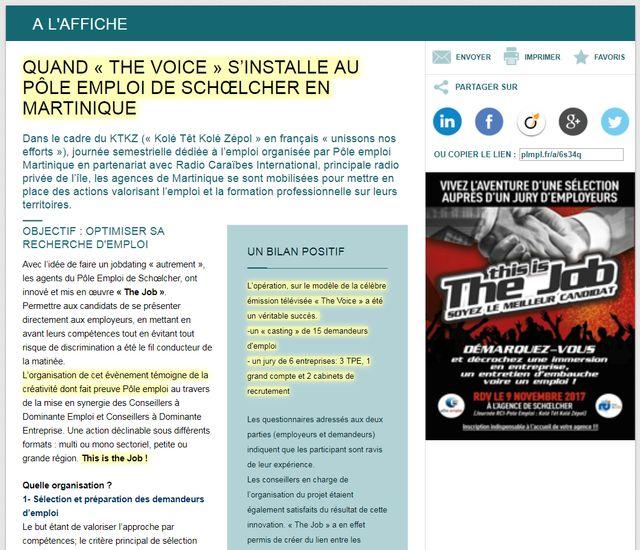 Cache du site internet de Pôle Emploi Martinique