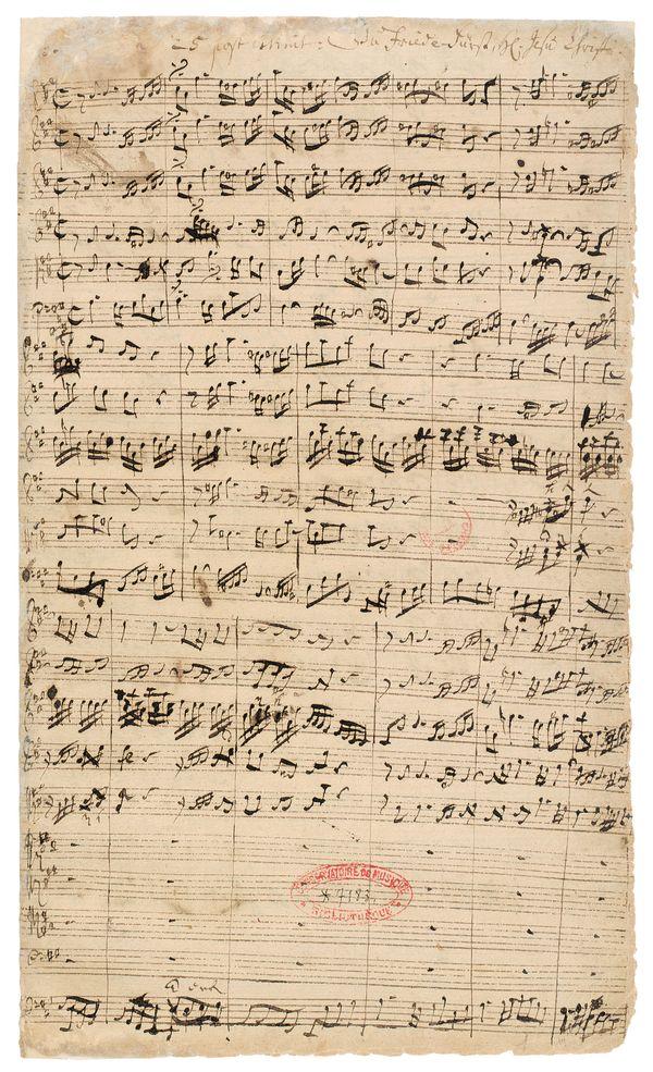 Johann  SebastianBach,  Du  Friedefürst,  Herr  Jesu  Christ,  BWV  116,  manuscrit  autographe  à  l'encre  noire,  1724,  35  ×  21  cm,  Musique,MS-1,  f.  3.