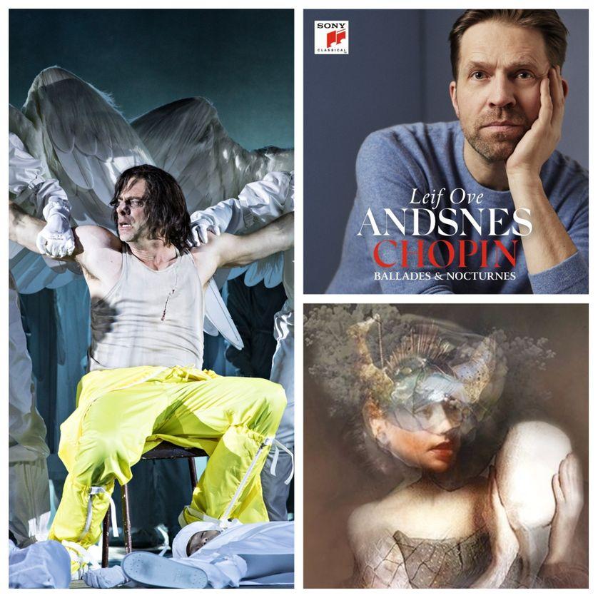 """à gauche : """"Mefistofele"""" (© Jean-Louis Fernandez), à droite : Leif Ove Andsnes (© Sony Classical) et """"Orphée et Eurydice"""" (© Théâtre National de l'Opéra Comique / DR)"""