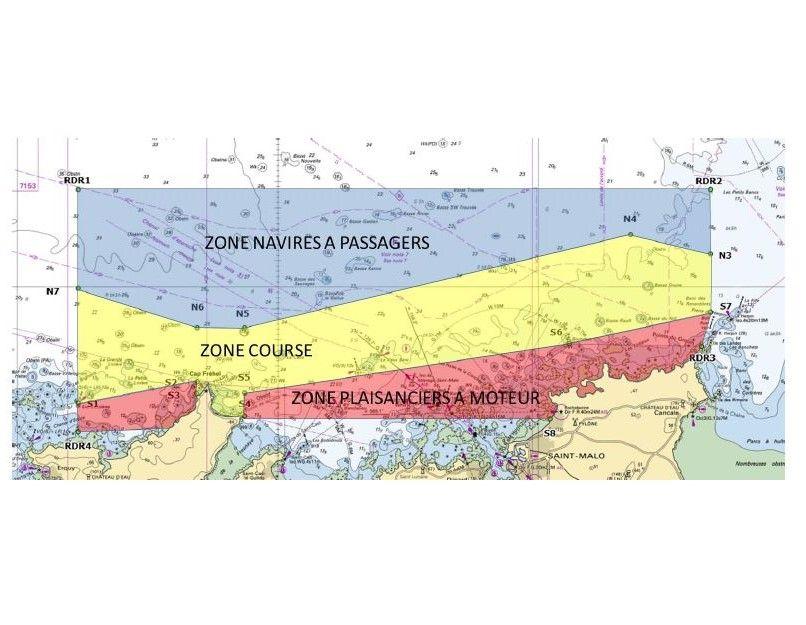 La carte des zones de navigation pour le départ