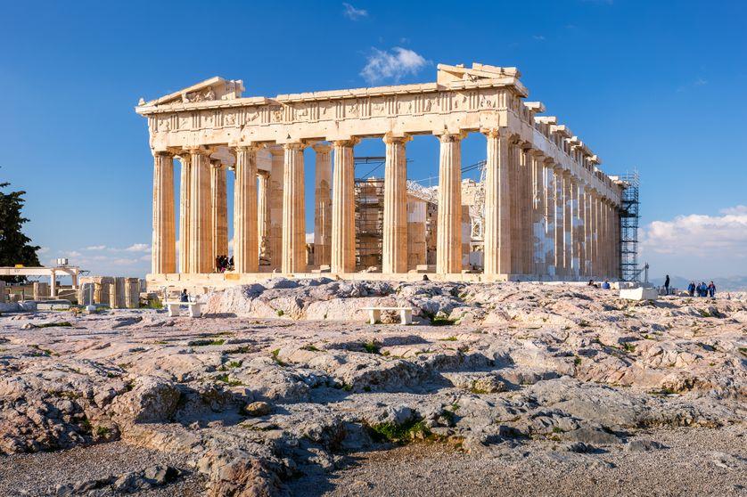 Le Parthénon, temple situé sur l'Acropole d'Athènes en Grèce