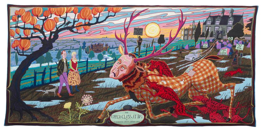 Grayson Perry  The Upper Class at Bay, 2012  Wool, cotton, acrylic, polyester and silk tapestry  200 x 400 cm