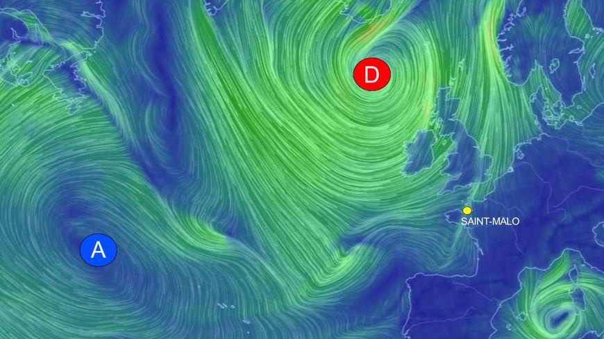 Capture d'écran de Nullschool, agitation sur l'Atlantique Nord