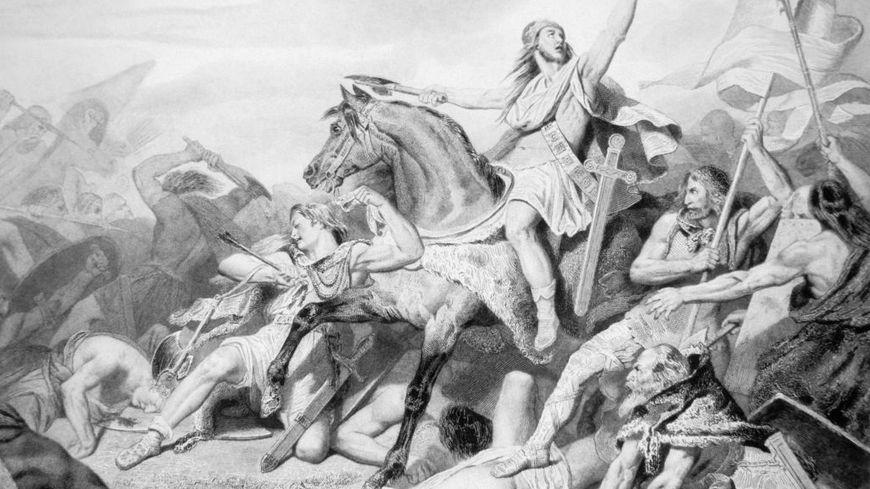 Le roi Clovis à la bataille de Tolbiac Gravure du 19ème siècle sur le roi Clovis lors de la bataille de Tolbiac en 496 en France.