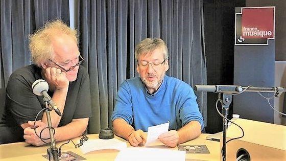 France Musique, studio 131... Le compositeur Michael Jarrell & Arnaud Merlin qui produit l'émission (g. à d.)
