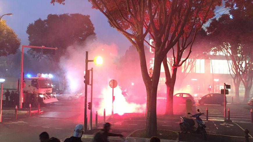 Les forces de l'ordre mobilisées avant le match entre l'OM et la Lazio.