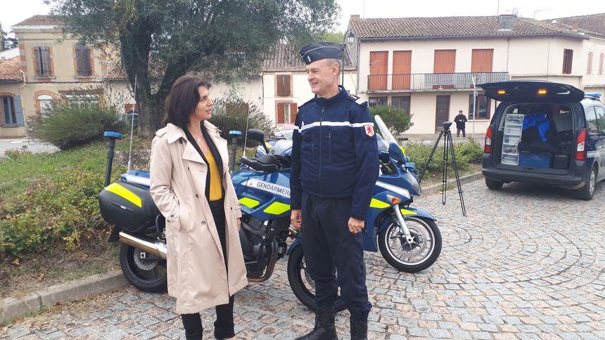 La préfète du Gers Catherine Séguin et le lieutenant-colonel Vezin qui commande le groupement du Gers