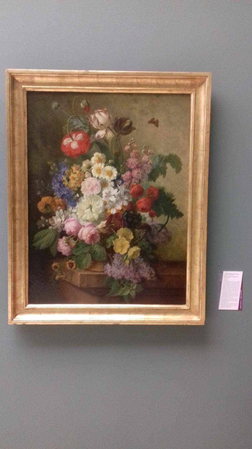 Les femmes étaient souvent cantonnées au genre du portrait ou de la nature morte - Elise Bruyère née Le Barbier, Fleurs dans une corbeille (1833)