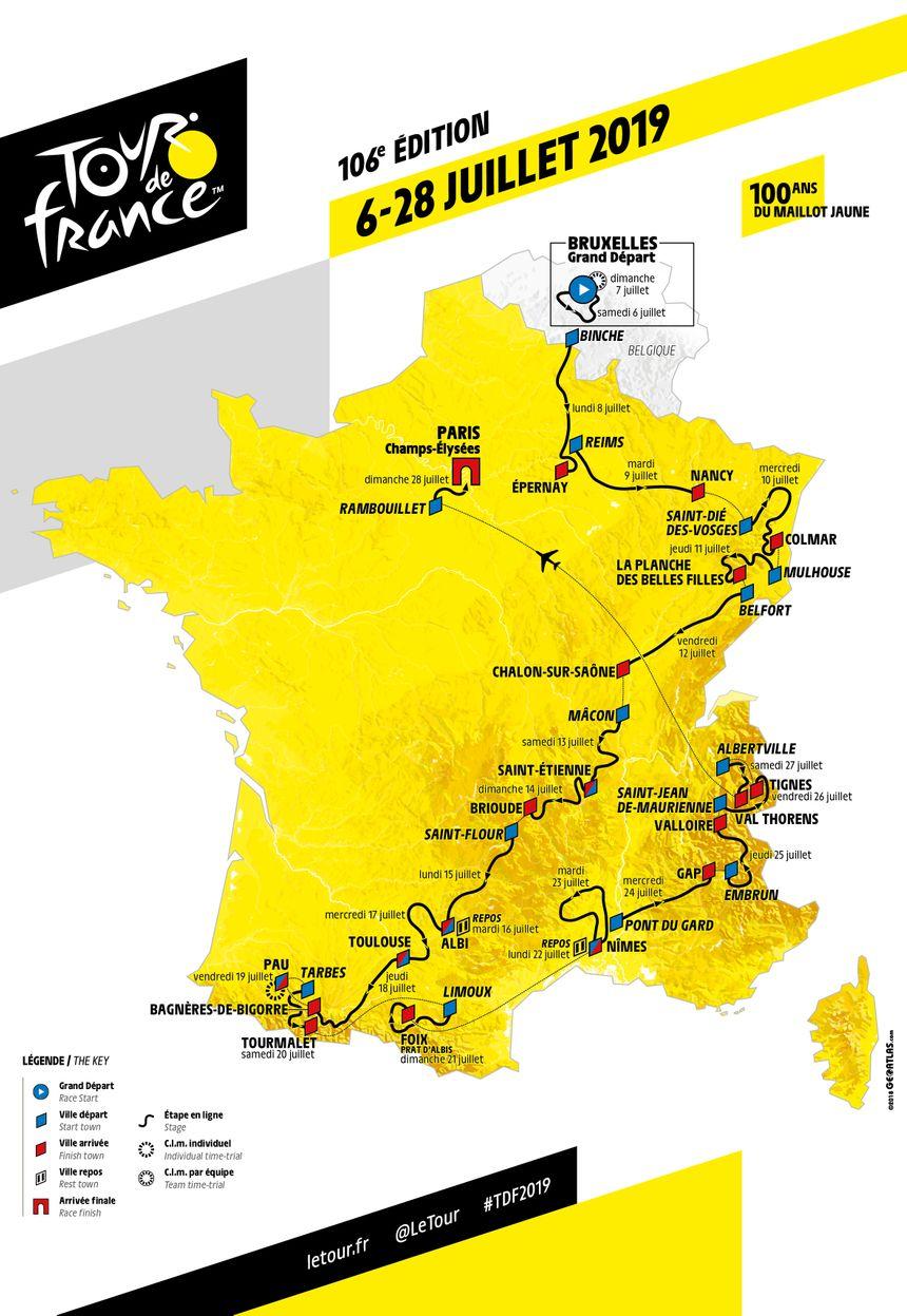 La carte officielle du Tour de France 2019.