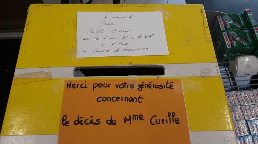 Une urne pour récolter les dons des habitants du Fenouiller.