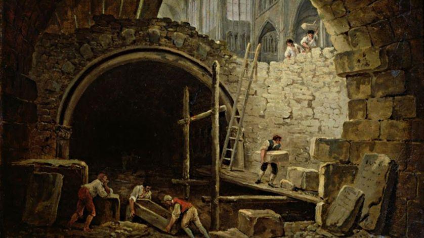 Violation des caveaux royaux de Saint-Denis, par Hubert Robert (huile sur toile au Musée Carnavalet). Wikipédia