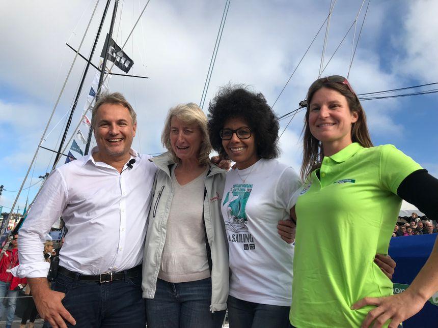 Grégoire Gonnord (président de Fleury-Michon), Catherine Chabaud (navigatrice), Audrey Pulvar et Morgane Ursault-Poupon