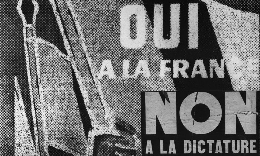 La campagne pour voter pour ou contre le projet de Constitution présenté par le général de Gaulle au réferendum du 28 septembre 1958, a commencé. Dans toute la France les murs se couvrent d'affiches contradictoires : OUI, NON
