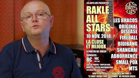 Patrick Racle devant l'affiche de l'événement rock du 10 novembre prochain