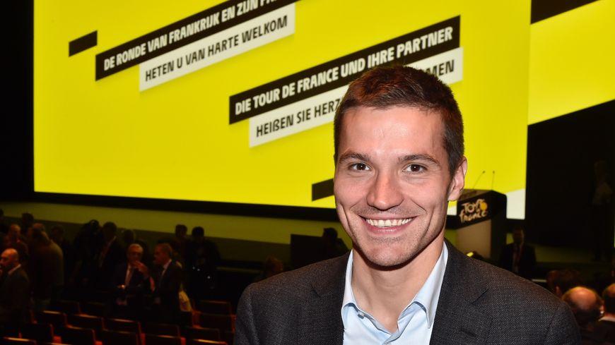 David Valence lors de l'annonce du parcours du Tour de France