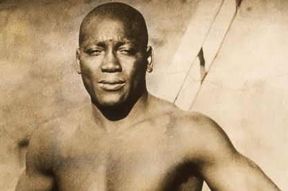 Le boxeur Jack Johnson en 1910