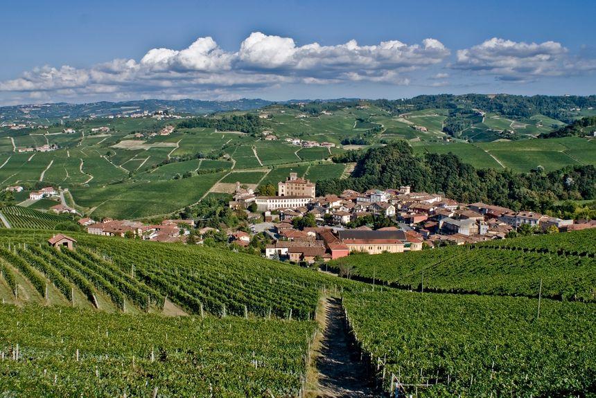 le village de Barolo dans le Piémont dont le vin tire son nom est entouré par les vignes