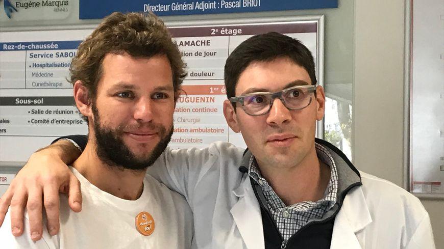 Arthur Le Vaillant, skipper et Dr Marc Pracht, oncologue