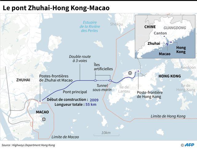 Le pont géant entre la Chine, Macao et Hong Kong