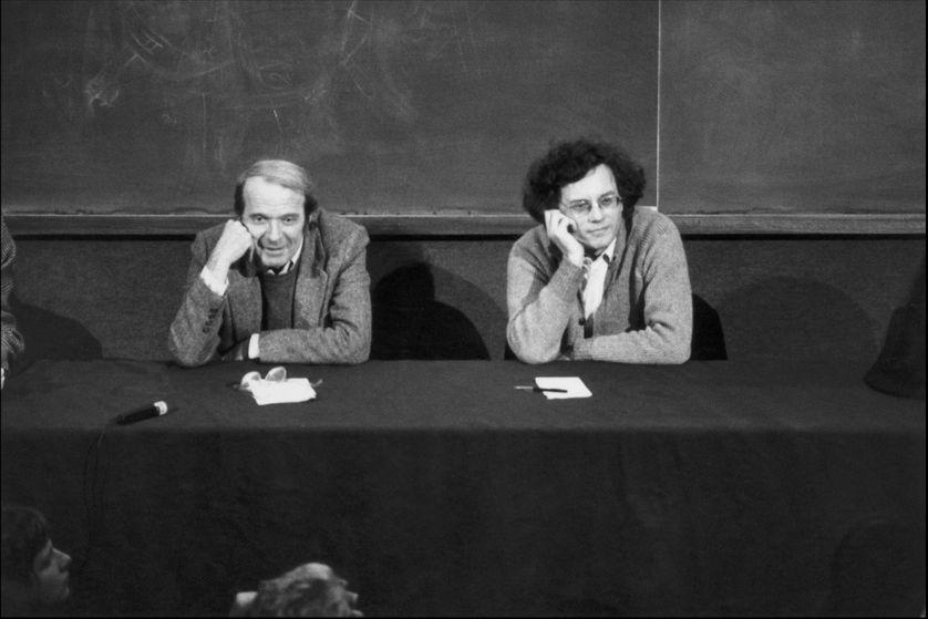 Gilles Deleuze et Félix Guattari en 1980, en France.