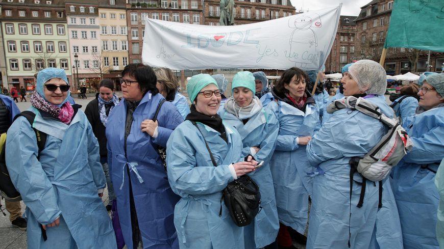 Une manifestation d'infirmières à Strasbourg en 2017