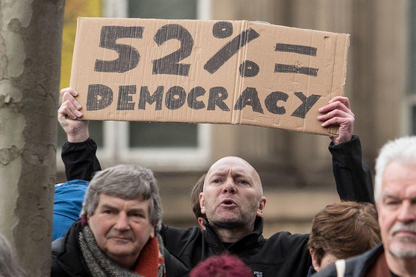 Partisans du Brexit lors d'une marche à Leeds en mars 2018