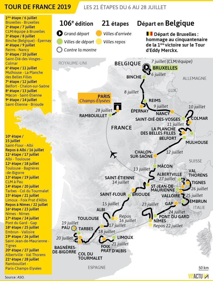 etape du jour carte CARTE   Tour de France 2019 : le parcours en détail étape par