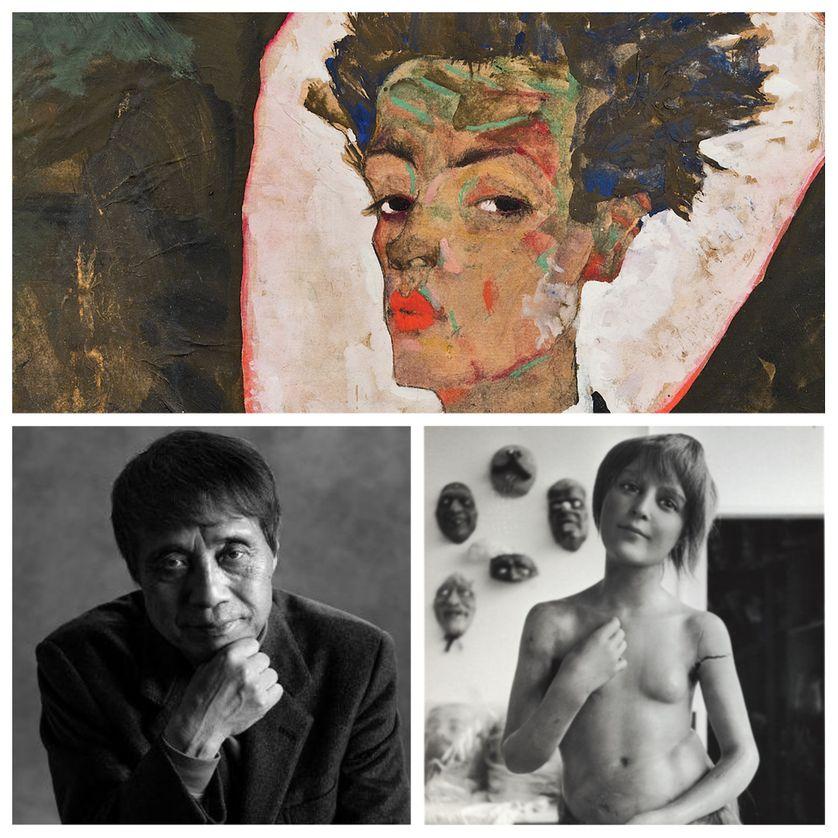 """en haut : Egon Schiele, """"Autoportrait au gilet"""" (Courtesy of Ernst Ploil, Vienne), en bas : Tadao Ando (© Shigeo Ogawa) et """"Le palais des monstres désirables"""" (© Christine Guibert / Courtesy Les Douches la Galerie, Paris)"""