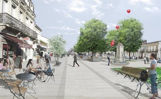 Le projet prévoit une promenade devant les commerces et de la verdure pour redonner un aspect de place à Nansouty.