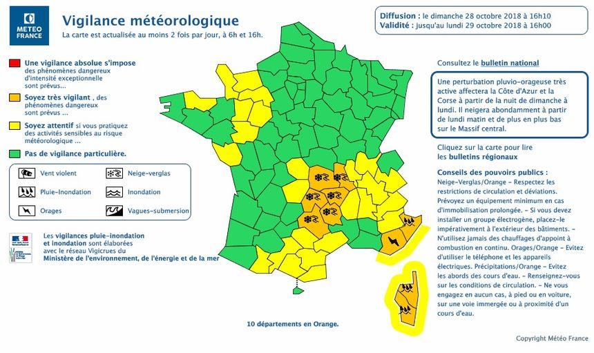 Vigilance orange neige-verglas pour les trois départements auvergnats concernés