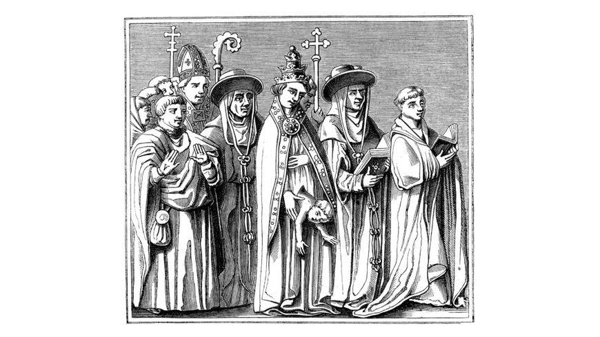 """La Papesse Jeanne, d'après une miniature du 15ème siècle. """"Du Moyen Age et de la Renaissance"""", de Paul Lacroix, Ferdinand Séré et A Rivaud, Volume 1."""