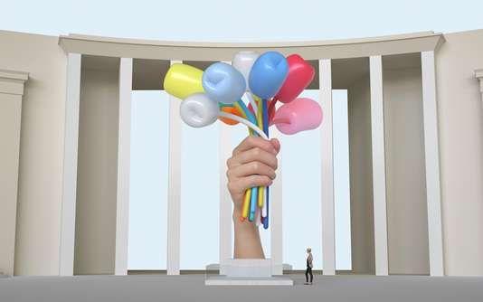 """Image de synthèse figurant le projet de sculpture intitulée """"Bouquet of tulips"""" du plasticien américain Jeff Koons"""