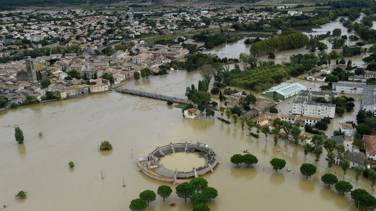 Photo aérienne de Trèbes (Aude) inondée le 15 octobre 2018.