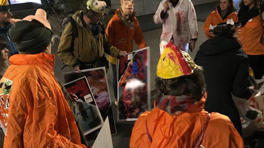 Les militants grenoblois de l'association L214 ont défilé plusieurs heures dans les rues de la ville.