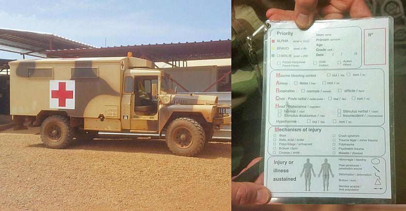 Camion de secours à Gao, au Mali, et fiche médicale du blessé