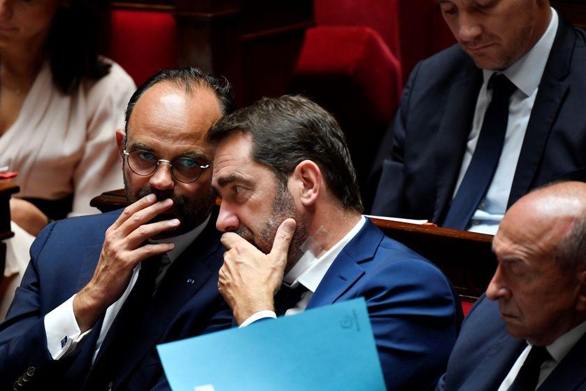 Le premier ministre, Edouard Philippe, avec Christophe Castaner à l'Assemblée Nationale le 31/07/2018