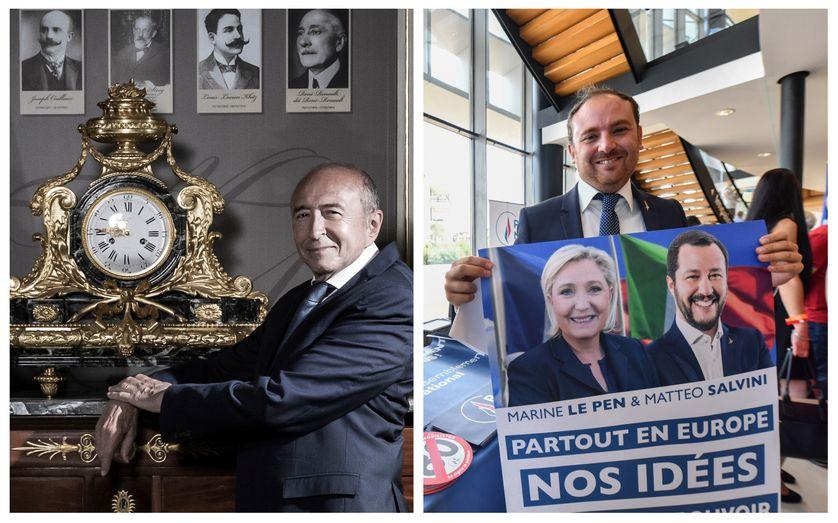 Gérard Collomb au Ministère de l'Intérieur en août 2018 / Le député Italien Flavio Di Muro au meeting du RN à Fqréjus en septembre 2018
