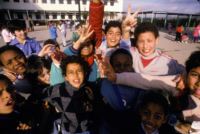 Dans une école primaire à Marseille, en 1988.