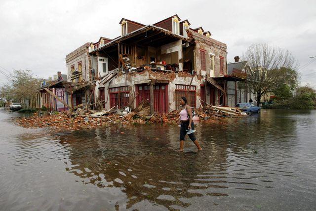 Les dégâts provoqués par l'ouragan Katrina en 2005 en Louisiane (États-Unis)
