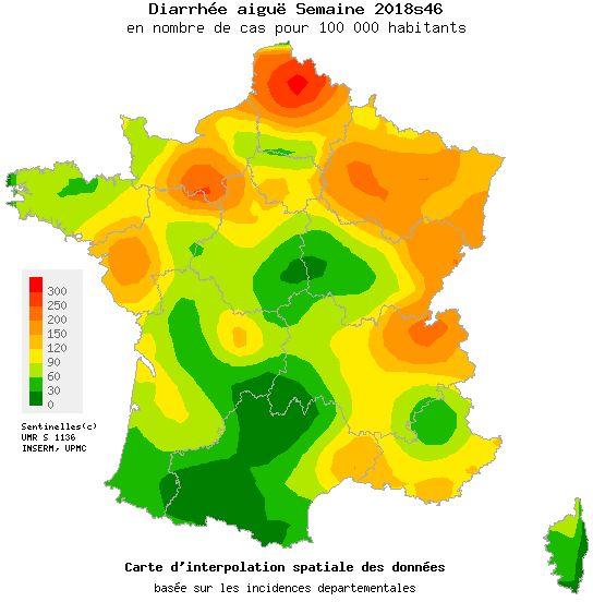 Carte d'épidémie de gastro-entérite établie par le Réseau Sentinelles début novembre 2018