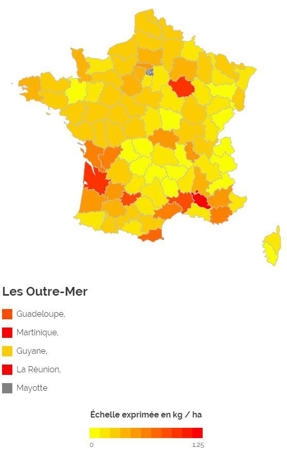 La carte d'utilisation du glyphosate en France par hectare de surface agricole utilisée.