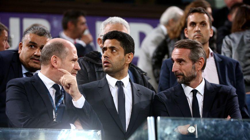 Une partie des dirigeants parisiens, Antero Henrique (directeur sportif), Nasser Al Khelaïfi (président) et Jean-Claude Blanc (directeur général délégué)
