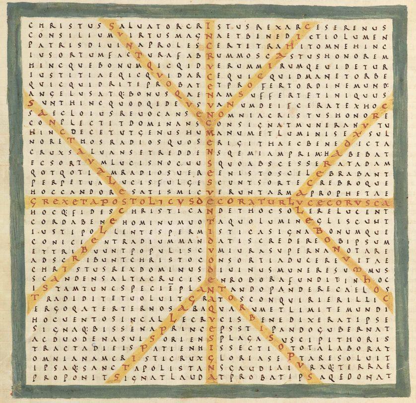 Raban Maur, Louange à la sainte croix, vers 847 Latin 2422 BnF, dpt. des Manuscrits