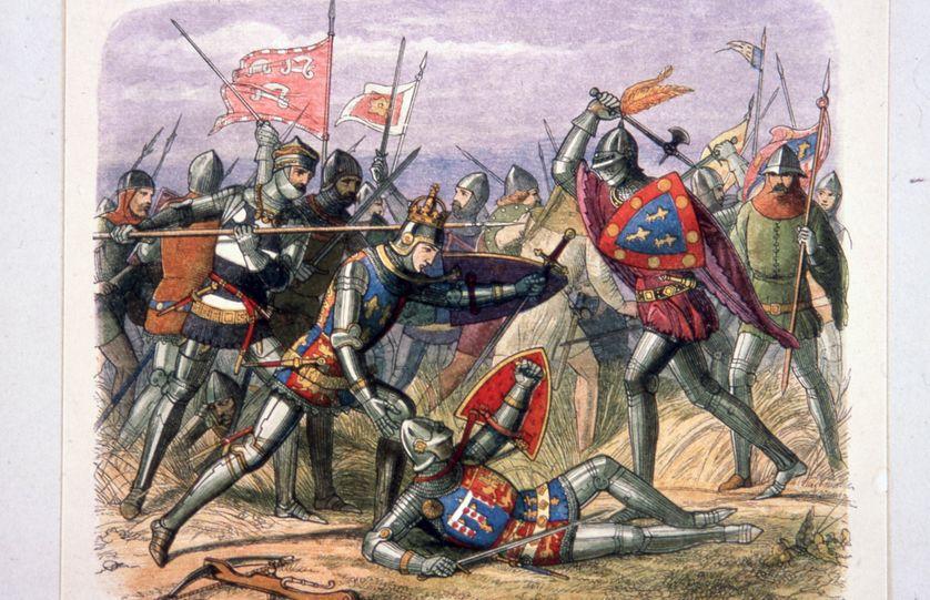La victoire des anglais sur les français lors de la bataille d'Azincourt, 25 Octobre 1415, pendant la guerre de Cent Ans.