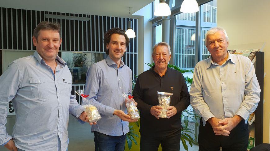 Le chef Freddy Trichet, Julien Cornillet, Patrick Gillet et Joël Blanc, invités de France Bleu Drôme Ardèche