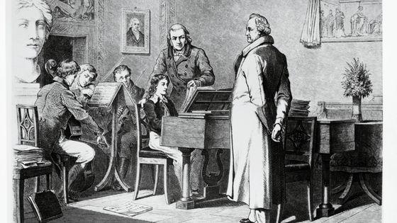 Felix Mendelssohn jouant au piano pour l'écrivain Johann Wolfgang von Goethe (gravure)