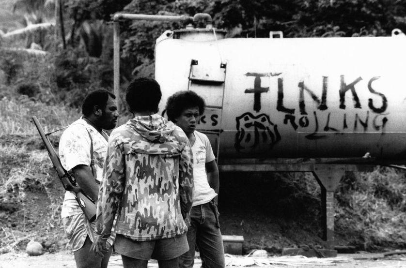 Barrage du FLNKS sur les routes en Nouvelle Calédonie, en décembre 1984.