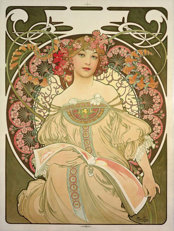 Alphonse Mucha Rêverie 1897 Lithographie en couleur 72.7 x 55.2 cm Prague, Fondation Mucha