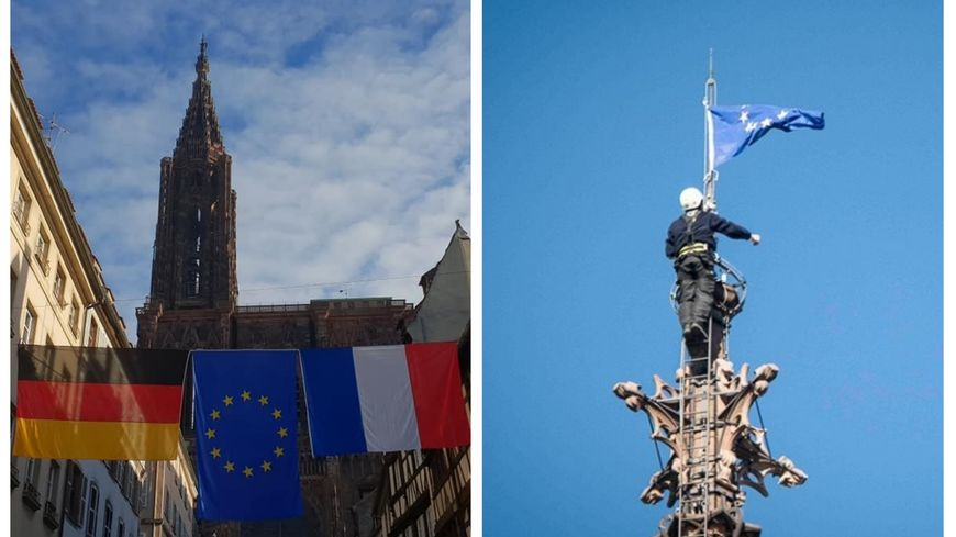 Le drapeau européen flotte au sommet de la cathédrale de Strasbourg.