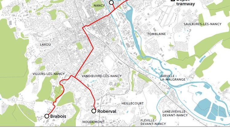 Le tracé du tramway de Nancy en 2025 passera par le campus de la faculté de Sciences à Vandoeuvre pour monter au CHU de Brabois.